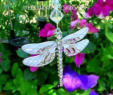 m/w Swarovski LG WHITE Silver Dragonfly Car Charm Suncatcher Lilli Heart Designs