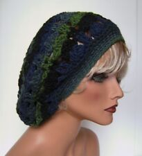396400f8ddd MULTI COLOR NAVY BLUE GREEN BAGGY SLOUCHY RASTA HAT CAP TAM HAND CROCHET  DREADS