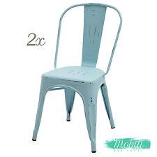 Sedia Stile INDUSTRY in Metallo Azzurro Anticato - 2 Pezzi SPEDIZIONE GRATUITA