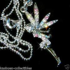 Rainbow w Swarovski Crystal Fairy ~Tinkerbell ANGEL Tinker Bell Pendant Necklace