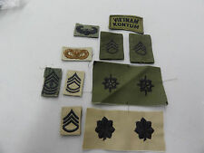 US ARMY MILITARY PATCH SET OF 12 USED OFFICER ENLISTED RANK OTHER  SEW ON TAB