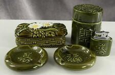 Vintage TILSO Japan Pottery Cigarette Tobacco Table Set Dragon & Daisy Motif