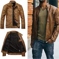 Mens Fur Lined Tops PU Leather Biker Jacket Motorcycle Coat Zip Up Outwear M-3XL