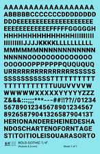 K4 O Decals Black 1/4 Inch Bold Gothic Letter Number Alphabet Set