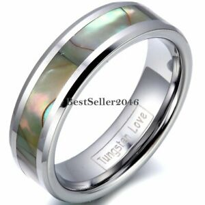 Tungsten Carbide Abalone Shell Ring Comfort Fit Engagement Band Wedding Jewelry