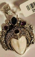 BALI GODDESS - Carved bone, multi gemstone - 925 Sterling Silver - Pendant