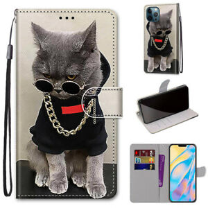 3D Fashion Cool Cat Flip Cartoon Stand Card Wallet For Various Phone Case Covers