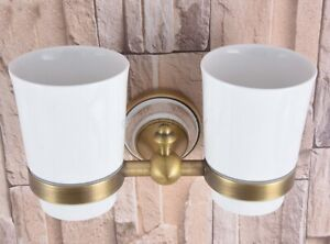 Antique Brass Wall Mounted Bathroom Toothbrush Holders Dual Ceramic Cups wba580