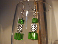 Green Glass Cube  Earrings W/ Tibetan Silver Totem Square Beads Xmas Gift