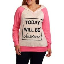 NEW WOMENS PLUS SIZE 3X MISS CHIEVOUS PINK TODAY WILL BE AWESOME RAGLAN HOODIE