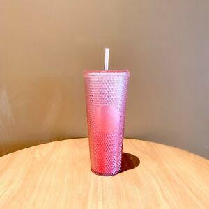 New 2021 Starbucks China 24oz Light Gradient Pink Studded Tumbler Straw Cup