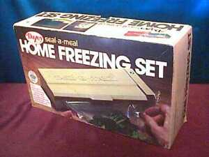 1976 Seal-a-Meal Home Freezing Set by Dazey + bonus support stand & bags green