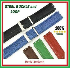 17mm (20mm) Genuine Leather Strap Made to Fit SWATCH Watches STEEL BUCKLE & LOOP