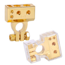 2x Gold 2 4 8 Gauge AWG Positive & Negative Car Battery Terminal Clamp Connector