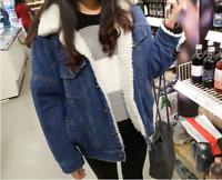 Women Winter Fur Lined Parka Short Denim Coat Thicken Fleece Jean Jacket X90