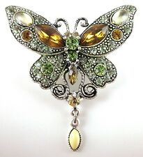 £35 Boho Silver Green Yellow Butterfly Pin Brooch Swarovski Elements Crystal