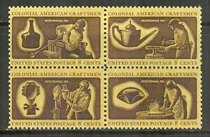 US #1456-1459 (1459a) 1972 8c Colonial American Craftsmen Se-Tenant B4 Unused NH