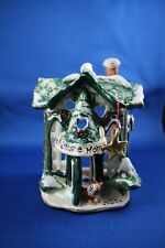 Clayworks Blue Sky Holiday Figurine Welcome Home with Tea Light Holder