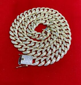 14K Yellow Gold Hand Made Miami Cuban Link Chain 13 mm - 925 - VVS1 - Brand New