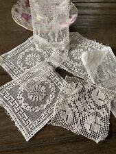 Antique Vintage Victorian Cotton Figural Lace Trim 6 Pieces