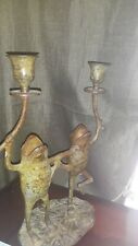 Vintage Bronze Double Frogs on Lily Pad Candle Holder