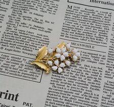 Spilla Dorato Ramo Fiore Foglio Perla Barocco Cuore Bianco Incisione Originale