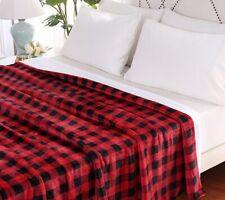 Berkshire Buffalo Plaid Velvet Soft Reverse to Sherpa King Blanket Red