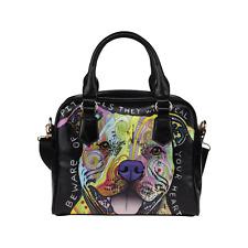 Beware of Pit Bulls Dog Cross Body Shoulder Handbag Purse for Women And Girls