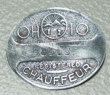 Vintage 1930's Ohio Licensed Chauffeur Metal Badge Taxi Cab Limo Uniform Badge