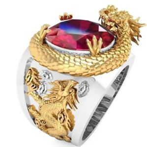 Hip Hop Men's Gold Dragon Stainless Steel Animal Ruby Red Zircon Silver Rings