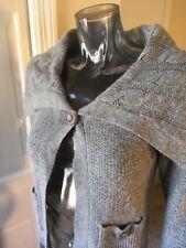 BCBG Wool Angora Sz S Cardigan Career EUC Shawl Sweater Sailor Gray