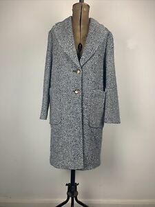 John Lewis Herringbone Patch Pocket Car Wool Coat, Blue Texture UK 8 RRP169