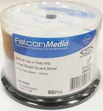 100x Falcon Pro Premium DVD-R: 16X SmartGuard SILVER INKJET 4.7 GB CAKE VASCA