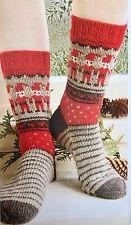 Cx4 - Knitting Pattern - DK Christmas 'Dancing Elves' Warm Winter Stocking Socks