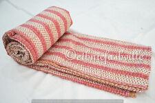 Indian Cotton Kantha Quilt Handmade Bedding Blanket Coverlet Striped Bedspread