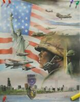 1986 18 x 23  LIBERTY PURPLE HEART ARMY NAVY MARINES AIR FORCE PRINT R CARTER