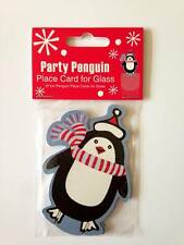 Christmas Party Penguin Glass Decorations / Xmas Table Place Name Cards x 10