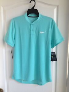 Nike Mens Slim Fit Tennis Blade Collar Polo Medium AQ7732-434 Turquoise