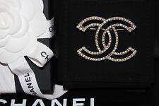 CHANEL 2017 XL OUTLINE CUTOUT Crystal Strass CC Logo Gold BROOCH Pin *NIB +Bag*!