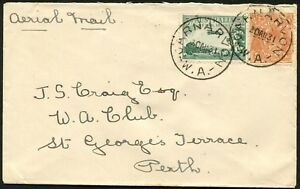 Aug.1931 usage 5d Chestnut + 3d Air on commercial airmail cover CARNARVON-Perth