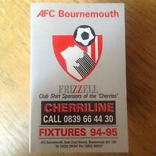 Bournemouth  1994/95 fixtures booklet