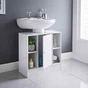 White Under sink Storage Unit with 2 Open Cupboards1 Door Free Standing Cabinet