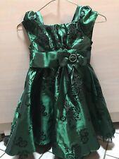 JONA MICHELLE Girls Size 5 Green Taffeta Holiday Christmas Party Dress EUC