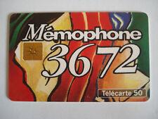 PHONECARD TELECARTE PUBLICITE MEMOPHONE 3672 BOITE VOCALE