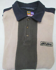 Ski Doo Racing Snowmobile Sno Gear Long Sleeve Shirt L Navy Blue Tan Green