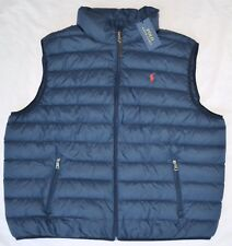 New XL POLO RALPH LAUREN Mens packable puffer down vest Navy Gilet Extra Large