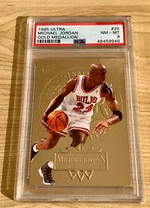 Michael Jordan 1995-96 Ultra Gold Medallion Insert. PSA NM-MINT 8. LOW POP RARE!