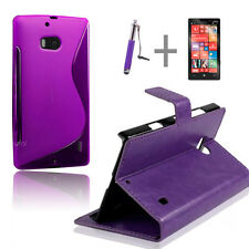 Purple Wallet 4in1 Accessory Bundle Kit Case Cover For Nokia Lumia 930