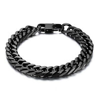 """8"""" 10mm Durable Black Stainless Steel Heavy Wide Mens Curb Link Chain Bracelet"""