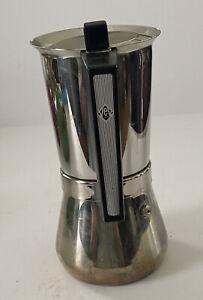 "Rare Espresso Pot VEV Vigano Vespress Silver Stove Top Maker 7.5""Made In Italy"